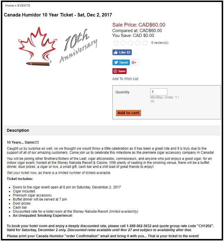 Canada Humidor 10th Anniversary Party Tickets