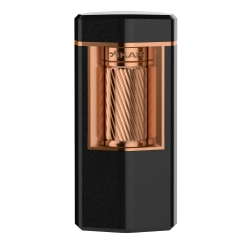 XiKAR Meridian Triple Soft Flame Triple Lighter - Matte Black & Rose Gold