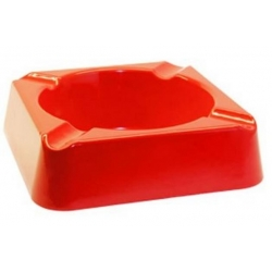 "Stinky Composite 8"" Square Stackable Ashtray - Red"
