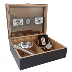 The Milano 75 Humidor Kit - Glasstop in Dark Rosewood