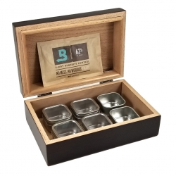 Cannabis Humidor with (6) 2oz Clear Lid Tins & 62% Boveda