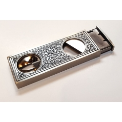 RETRO Dual CIGAR CUTTER with Case - V-cutter and Guillotine - Antique Silver