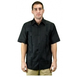 Guayabera - Black Short Sleeve