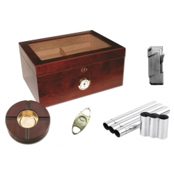 The Canada Humidor Milano 75 Humidor Kit - Glasstop in Dark Rosewood