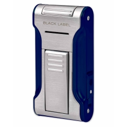 Black Label Dictator Flat Flame Torch Lighter with Cigar Punch (Brushed Chrome & Blue)