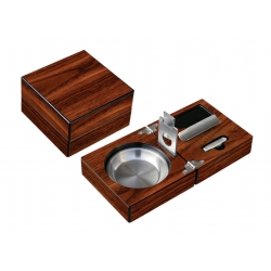 Folding Walnut Cigar Ashtray with Cutter & Punch