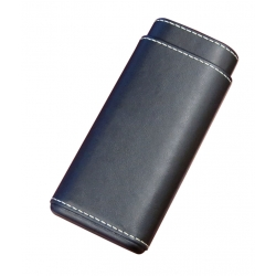 Leather 3 Cigar Case - Black