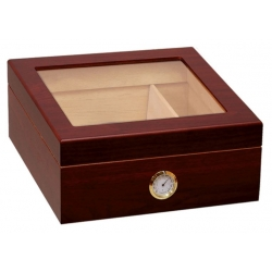 The Chalet 25 Glasstop Humidor - Mahogany