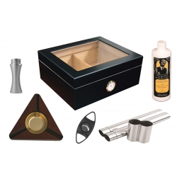 The Chalet 25 Humidor Kit - Glasstop in Mahogany