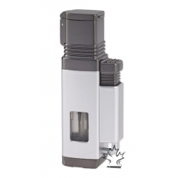 Vertigo Churchill Quad Flame Lighter - Silver & Gunmetal